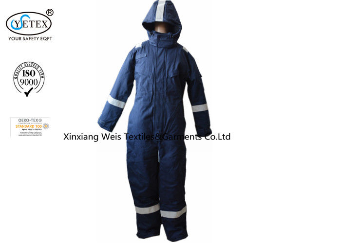 Anti Static Blue Insulated Fr Cotton Coveralls With Hood Winter 300gsm