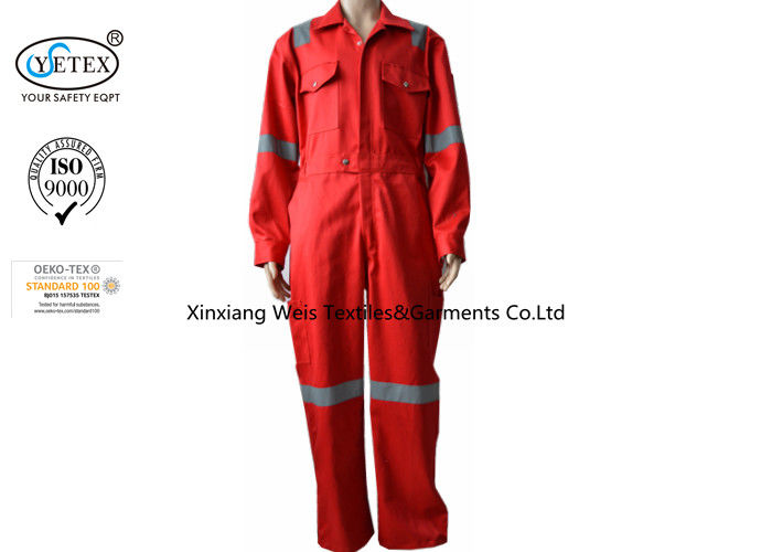 100 Cotton Fireproof Coveralls With Reflector Oil And Gas Field Support