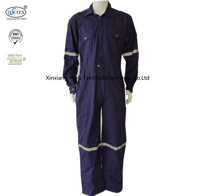 Cotton Dark Purple Fire Resistant Coveralls With Reflective Tape Safety Clothing