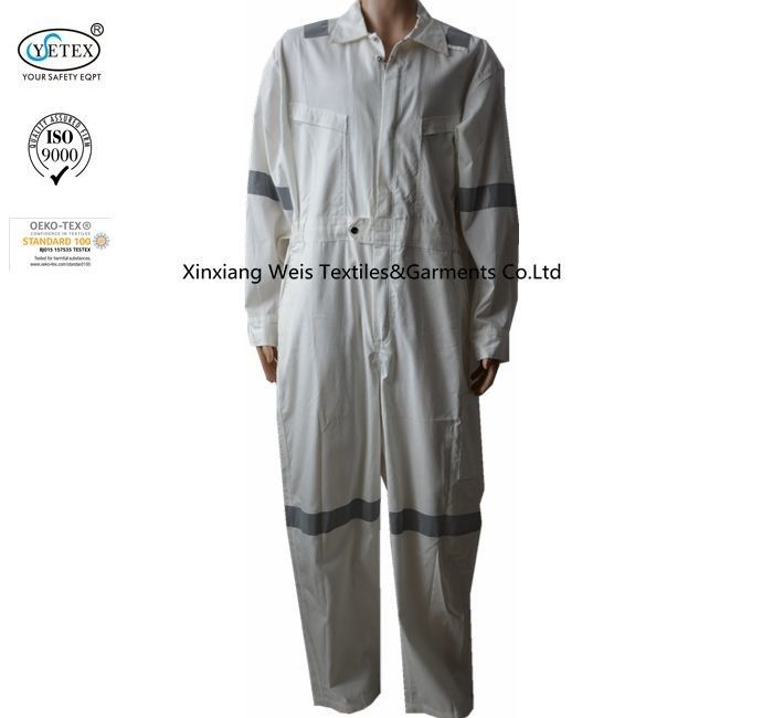 White Ripstop Lightweight Fire Retardant Coveralls High Tenacity 180gsm