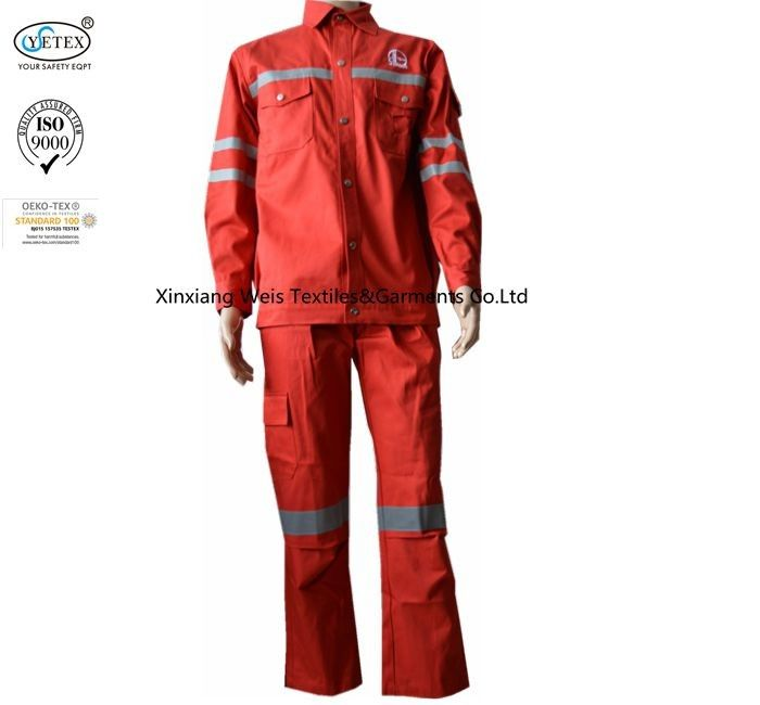 Red Cotton Fire Retardant Suit / Reflective Flame Resistant Rain Suit