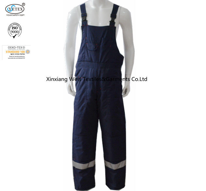 Navy Blue Winter Flame Retardant Fr Bib Insulated Overalls With Reflective Trim
